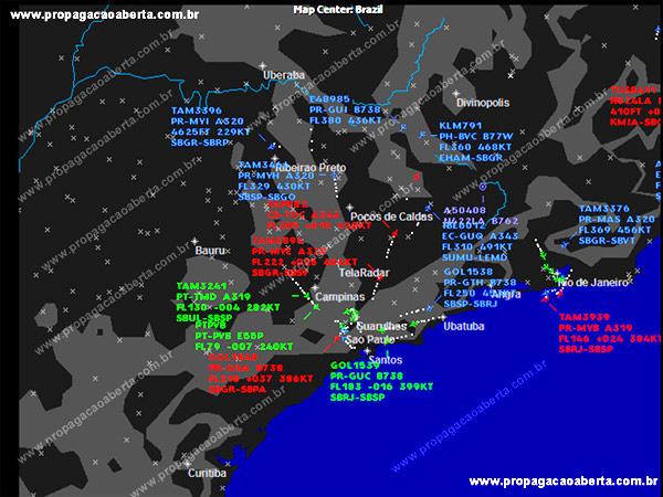 Tela Radar -  Radar ao Vivo Aeronaves Brasil
